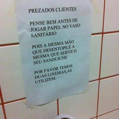 Vai jogar papel no vaso sanitário?