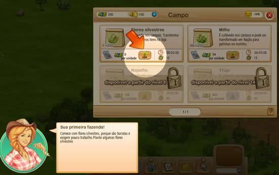 Jogo de fazenda Big Farm - Interface